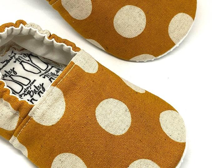 Newborn Moccasins, Toddler Shoes, Little Kids & Big Kids Shoes - Yellow Polka Dot Slip On Flats