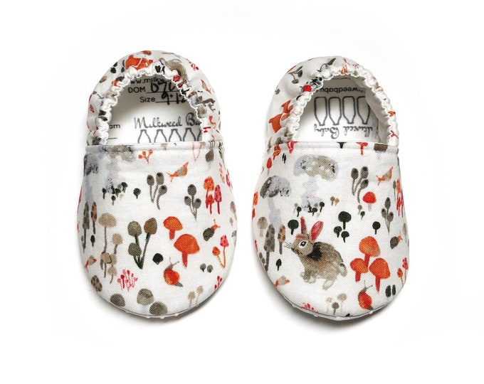 bunnies and mushrooms crib Shoes, multi color shoes, water color baby shoes, vegan moccasins, Baby Booties, toddler shoes