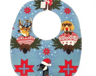 Hipster Animals Christmas Baby Bib, Baby Gift, Baby Shower, Reversible, Washable