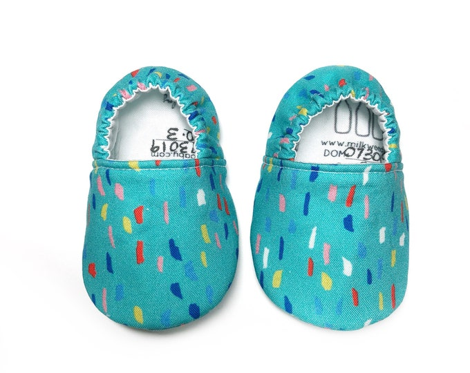 baby shoes, toddler shoes; teal confetti