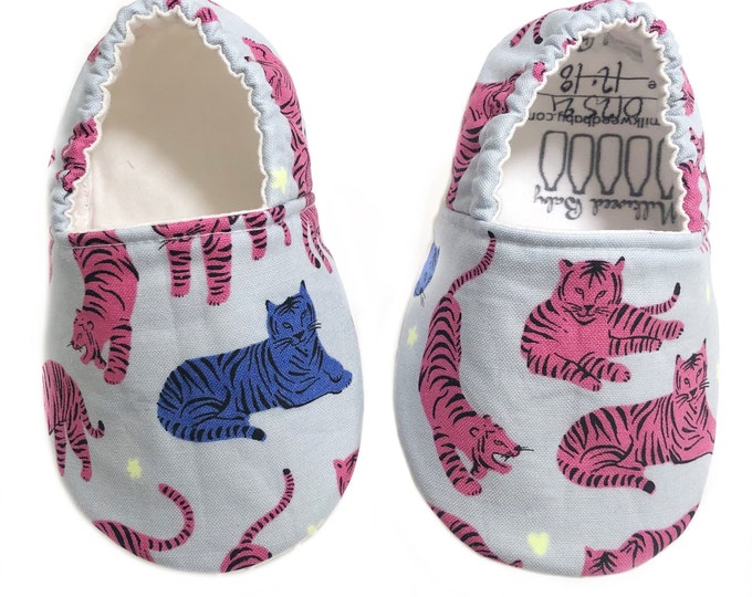 12-18mo Ready to Ship Tiger Moccasins, Hot Pink & Blue