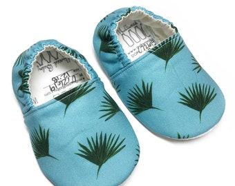 Montessori shoes, indoor shoes, classroom shoes; blue palms