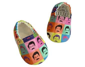 Ron Swanson Moccs / Moccs/ Mocs / Infant Moccasins / Baby Moccs / Toddler Moccasins / Toddler Slippers / Vegan Moccs / Soft Sole Shoes