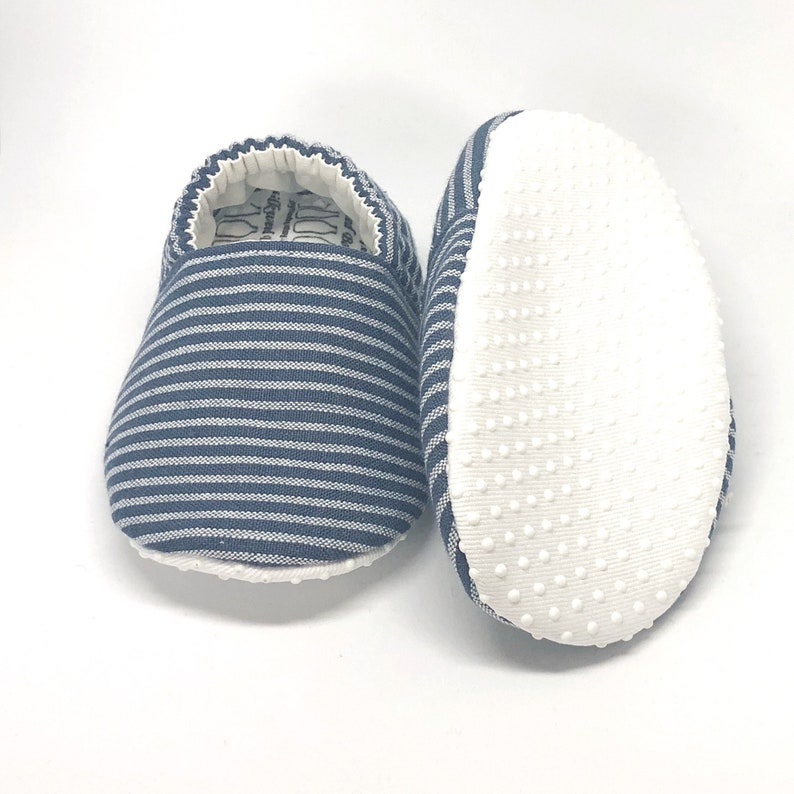 1ca6b5d1aa09d Indigo Stripe Baby Shoes, Striped Baby Slippers, Soft Sole Baby Shoes, Blue  Baby Shoes, Baby Moccs, Baby Moccasins,Baby Booties,Vegan baby