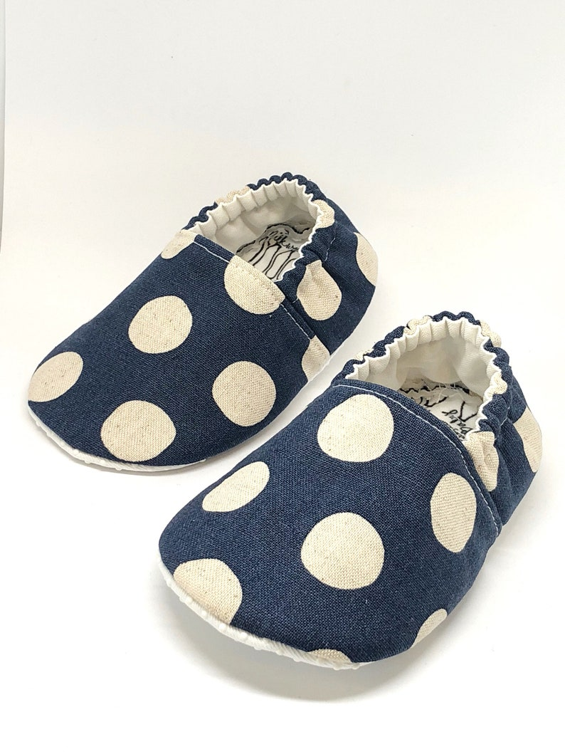 94a21ec3fcf96 Vegan Baby Moccasins / polka dot shoes / non-slip soft sole baby shoes /  made to order / Babies Toddler Preschool / Fall Family Pho