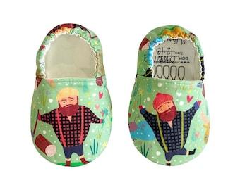 Lumberjack Moccs / Moccs/ Mocs / Infant Moccasins / Baby Moccs / Toddler Moccasins / Toddler Slippers / Vegan Moccs / Soft Sole Shoes