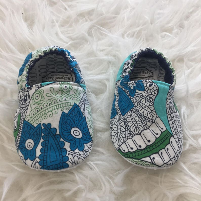 e349a2ef7b47a 9-12mo RTS Baby Moccs: Sugar Skulls / Halloween Baby Shoes / Baby Moccasins  / Indoor Shoes / Vegan Mocc / Soft Soled Shoe / Montessori Shoe
