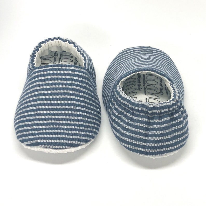 846eeefe5e67d Size 9 RTS - Indigo Stripe Baby Shoes, Striped Baby Slippers, Soft Sole  Baby Shoes, Blue Baby Shoes, Baby Moccs, Baby Moccasins,Vegan baby