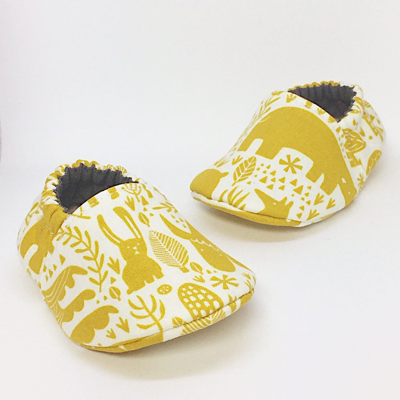 d395c7f2f2948 Moccs / Woodland Animals Mustard / Infant Moccasins / Baby | Etsy