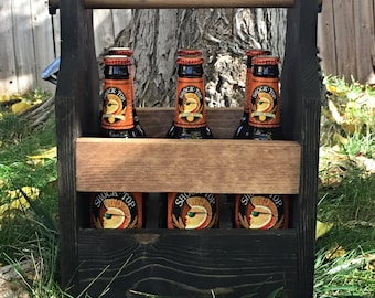 Beer carrier, Bottle holder, Beer caddy, Wood beer carrier, Six pack carrier, Bottle opener