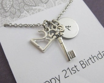 Friendship 21st Birthday Gift For Her Card Hand Stamped Key Necklace Ideas Sister