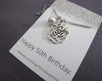 50th Birthday Gift For Women Mom Mum Flower Necklace Aunt Mother In Law Her