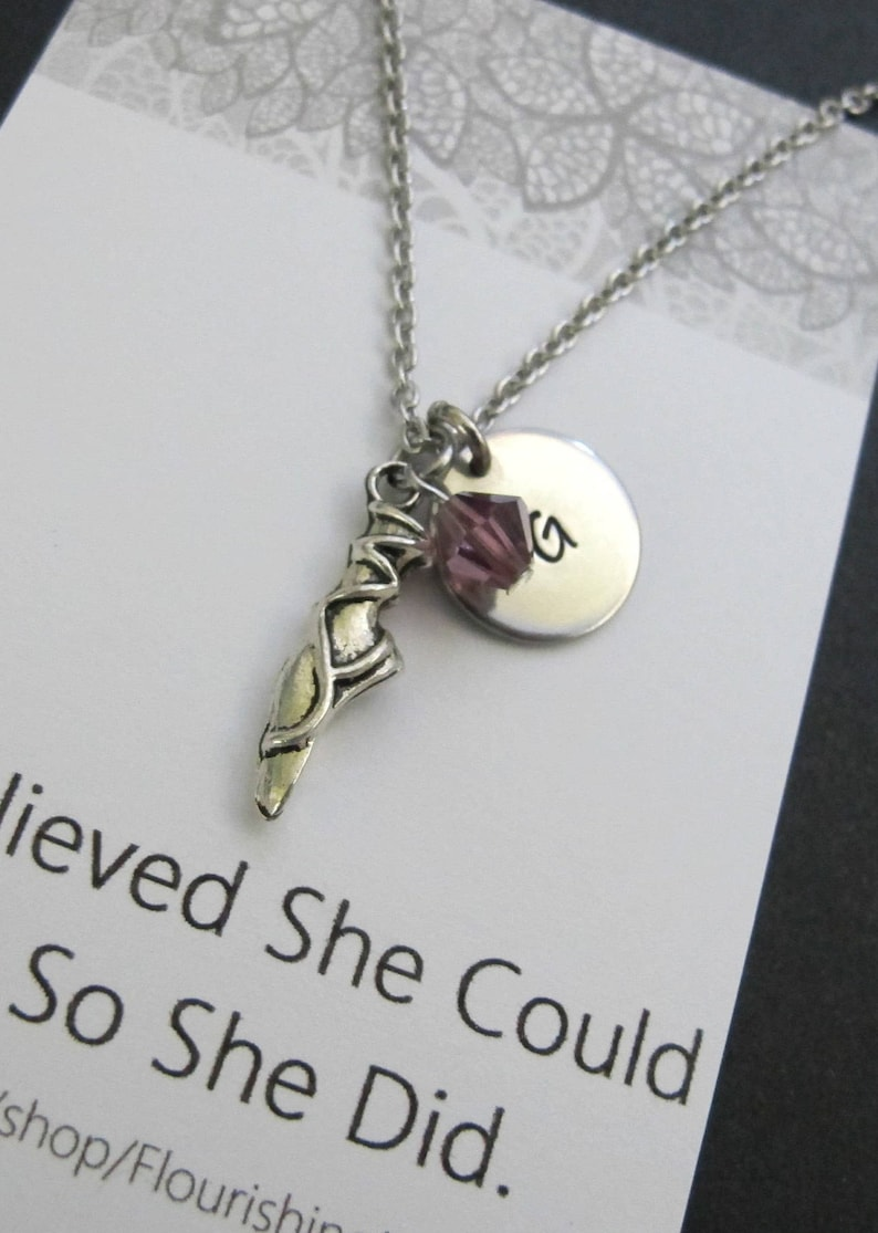 Hand stamped initial necklace Pendant Graduation Gift-Ballerina Charm Necklace-Ballet Charm-Dance initial Necklace-Dancer teacher Gift