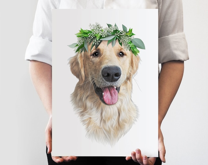 Flynn Flower Crown Pet Portrait