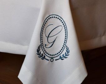 Monogram Tablecloth Custom Made, Rectangle Tablecloth, Square Tablecloth, Dining Table, machine embroidery letter monogram, Table Cloths