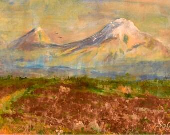 Original Ararat Acrylic Painting, Armenian Nature Painting, Original Art, Masis Mountain Painting, Ararat Mountain, Biblical Mount, Wall Art