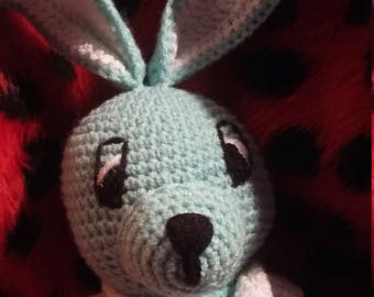 Plush or amigurumi Bunny turquoise