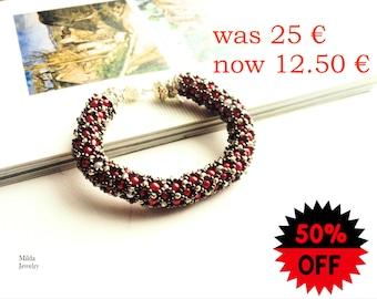 SALE Beadwork jewellery, bead women bracelet, red and silver bracelet, handmade glass beaded jewelry, spiral rope bracelet, Women's fashion