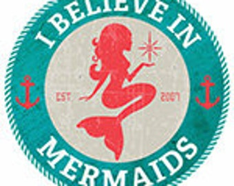 Fridge Magnet 1 inch - I Believe in Mermaids Logo