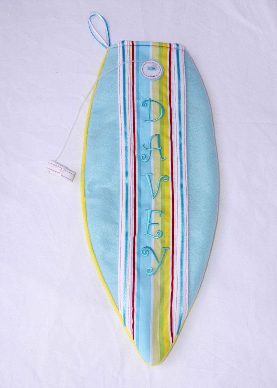Surfboard Christmas Stocking blue stripe