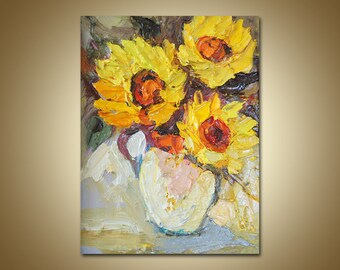 Moderne Kunst Keuken : Paletmes stilleven bloemen schilderij olie op canvas etsy
