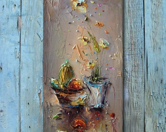 Original Oil Painting, Still life, Modern Art, Kitchen Wall Decor, Floral Art, Palette Knife, Abstract Oil Painting, Canvas Art, Gifts Ideas