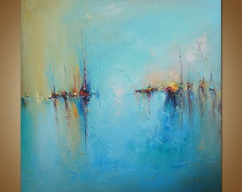 Large Oil Painting, Large Abstract Seascape Painting, Modern Art, Contemporary Art, Abstract Canvas Art, Original Artwork, Canvas Wall Decor