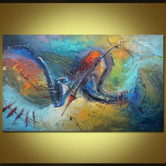 New Olieverf schilderij Abstract kunst aan de muur stilleven | Etsy #JJ32