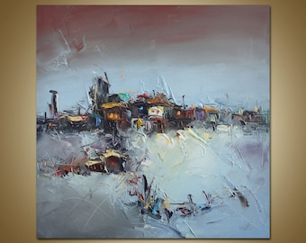 Abstract Landscape Painting, Oil Painting, Modern Art, Original Artwork Canvas Wall Art, Contemporary Art, Landscape Painting, Ready to hang