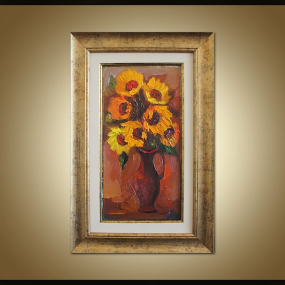 Pleasant Sunflowers Painting Floral Painting Original Artwork Abstract Art Kitchen Wall Decor Frame Painting Impasto Floral Art Abstract Art Complete Home Design Collection Epsylindsey Bellcom