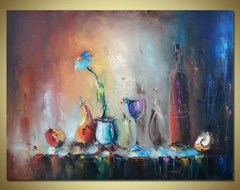 Original Oil Painting, Still Life, Modern Art, Oil Painting Abstract, Large Oil Painting, Kitchen Decor, Large Wall Art, Canvas Painting