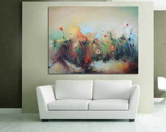 PALETTE KNIFE Floral Art, Large Oil Painting, Original Artwork, Canvas Wall Art, flowers Oil Painting Green Yellow Beige Kitchen Wall Decor