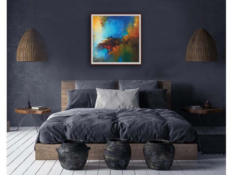 rustic home decor contemporary art wall art abstract digital image modern art blue brown indigo and brown abstract large indigo art