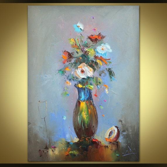 Blumen Malerei, Ölgemälde, Moderne Kunst, Floristik, Leinwand Malerei,  Original Kunst, Abstrakt Leinwand Auf Rustikale Wand Dekor, Küche Dekor
