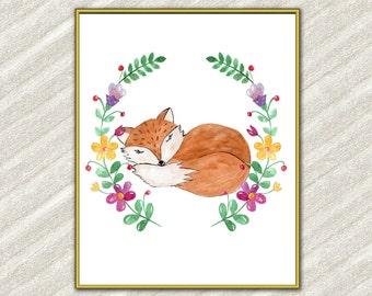 "Watercolor fox digital print: ""BABY ANIMAL PRINT"" Nursery print Kids room prints Forest animal print Nursery wall decor Kids room decor"