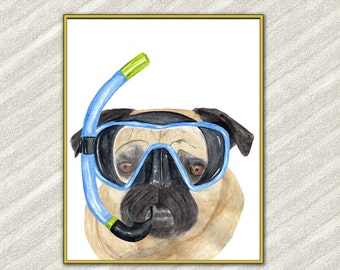 "Fun Pug art print: ""CUTE PETS PRINTS"" Mops poster Funny dog print Kids printable Watercolor dog Printable dog Nursery art Vet office art"