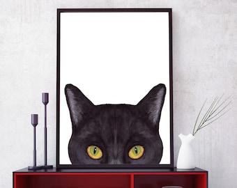 "Black Cat Print: ""WATERCOLOR BLACK CAT"" Minimalist art,Kitten poster,Cat lovers,Cat printable,Cat silhouette,Cat Wall Art,Black Cat Face"