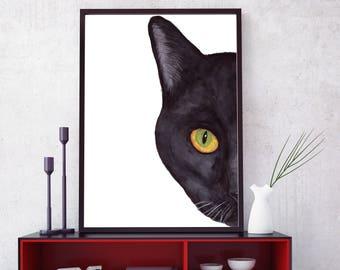 "Black Cat Print: ""WATERCOLOR BLACK CAT"" Cat painting,Kitten poster,Cat lovers,Cat printable,Cat silhouette,Cat Wall Art,Black Cat Face Print"