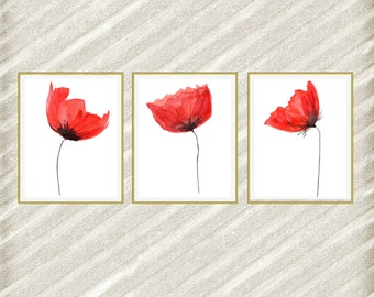 Articles Similaires A Coquelicots Wall Art Print Red Poppies