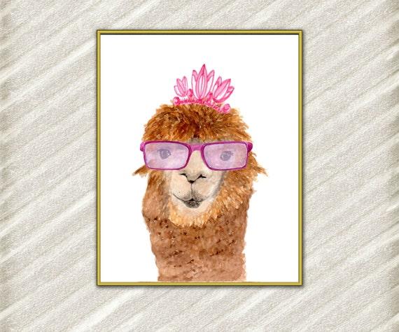 Acuarela de Lama impresión: LAMA divertido Alpaca | Etsy