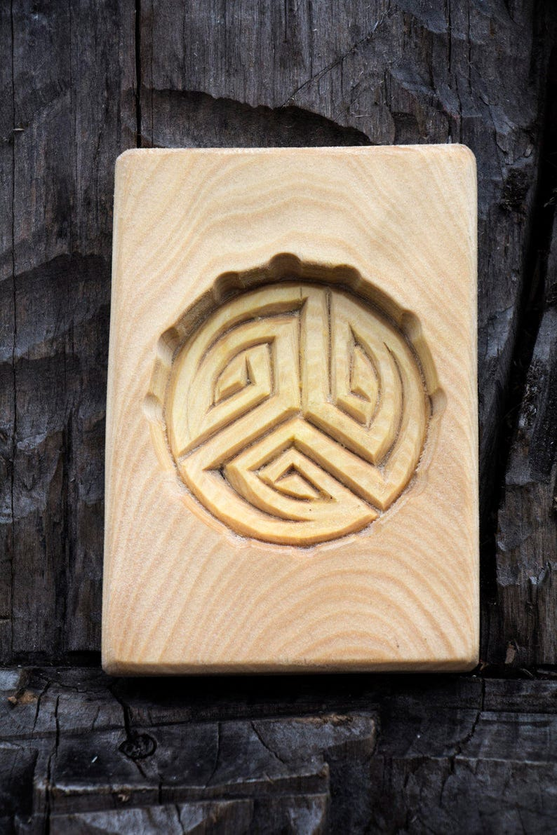 carved wood Cookie mold Kolovrat Linden tree. Handmade