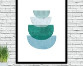 Abstract Half cicles, Green Turquoise, Geometric textured art, Printable, Modern Wall, Minimalist art , instant download, Skandinavian Print