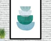 Abstract Half cicles, Green Turquoise, Geometric textured art, Printable, Modern Wall, Minimalist art , instant download, Skandinavian Print