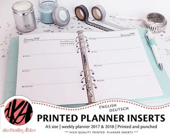 PLANNER INSERTS A5 2017 / 2018 | one week two pages | 1w2p | Filofax | printed, cut and punched | dated | unlined or lined