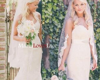 Partial Fingertip lace veil-1 tier fingertip lace wedding veil-Lace half way veil in fingertip-Short Alencon Lace Bridal veil 625