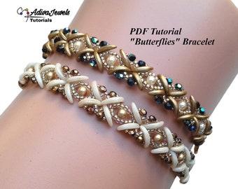 "Beading Bracelet Pattern, ""Butterflies"" Tutorial, Instant Download"