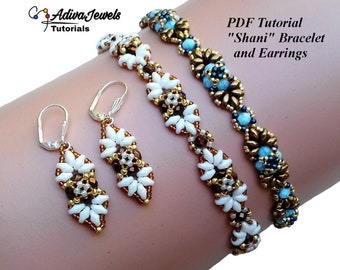 """Beading Jewelry Tutorial, """"Shani"""" Bracelet and Earrings Pattern, Instant Download"""