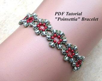"Beaded Bracelet Pattern, Simple Patterns, Superduo Tutorial, Beading Instructions, DIY Bracelet, Beading Bracelet, ""Poinsettia"" Pattern"