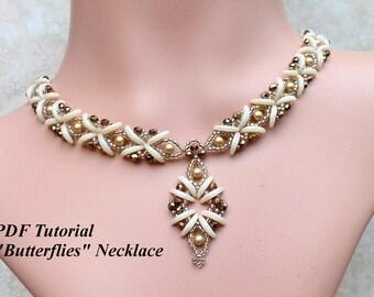 "Beading Tutorial, DIY Necklace, Crescent Beads Pattern, Beaded Necklace Tutorial, Beadweaving Pattern, ""Butterflies"" Necklace"