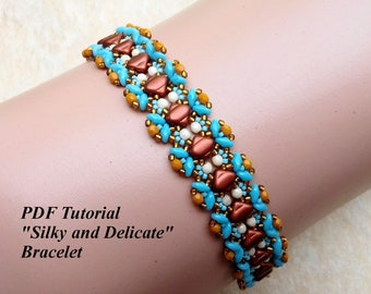 """Superduo Beads Tutorial, Bracelet Pattern, Beaded Bracelet Tutorial, DIY Bracelet, Beading Pattern, PDF Pattern, """"Silky and Delicate"""""""
